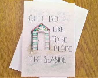 Beach Hut - Watercolour Card - Illustration - Seaside