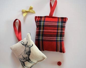 Pack of 2 Tartan and Stag Handmade Sewn Friendship Gift Christmas Stocking Filler Secret Santa Cushion Decoration Tree