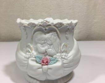 The Enesco Precious Moments Wedding Candle Holder 1994