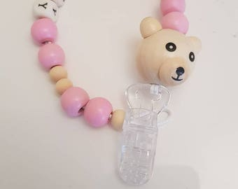 Personalised wooden Dummy/Clip*teddy*natural*pink*baby gift*baby shower*100% natural wood