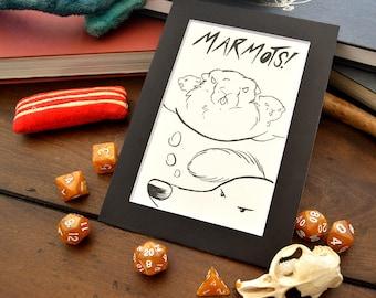"DnDoggos Pickles ""Marmots"" Original 5x7 Art"