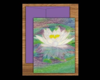 Water Lily Greeting Card Set of 10, Water Lily Cards, Blank Greeting Cards, Blank Cards, Blank Notecards, Floral Card, Notecards, Water Lily