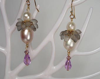 18K GOLD Natural Pearl Swarovski Crystal Purple Drop Earrings Wedding Holiday Special