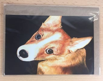 envelope with artcard corgi