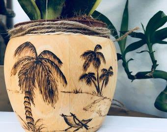 Bamboo plant pot/  bowl with palm tree beach scene design