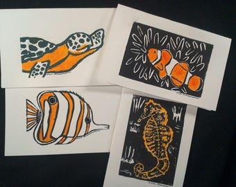 Handmade All-Occasion Greeting Cards, Marine Life
