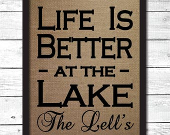 lake decor, lake house sign, lake house wall art, personalized lake house sign, life is better at the lake, burlap print, lake signs, L1