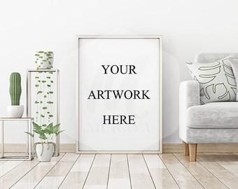 Silver Frame Mockup, Silver Portrait Frame, Styled Stock Photograpy, Scandinavian Style Interior, PSD Mockup, Digital Item, Modern Design