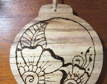 Large Wooden Henna Style Ornament