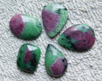 Lot ! A+++ quality Ruby zoisite loose gemstone Top quality gemstone Excellent Cabochons handmade Gemstone 100% Natural 131.00cts, 5 Pieces.