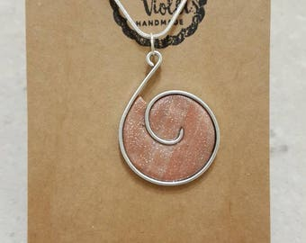 Glittery polymer clay and wire necklace