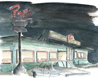 Pop's Diner, Watercolour and Ink PRINT