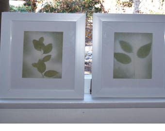 Green and Cream Silhouette pressed plant in a white 10'x12' Frame