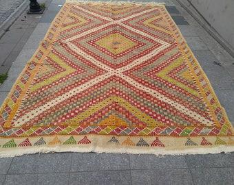 """Handmade kilim rug325x200cm 128""""x78"""",Turkish kilim rug,Anatolian kilim rug,vintage kilim rug,tribal kilim rug, Handmade kilim rug"""