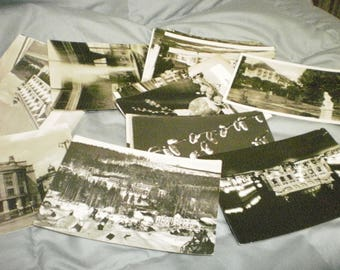Vintage postcards, black & white postcards, worn, random, old world postcards, used postcards w/old stamps