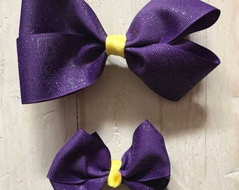 Purple Glitter Pinwheel Hair Bow