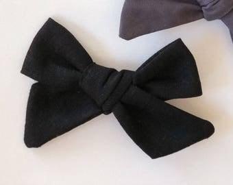 Black Linen Bow | baby headband, hand tied bows, hair bows, nylon headband, alligator clip, oversized bow, pinwheel bow