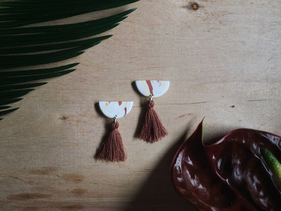 Mini Brown Tassel Earrings