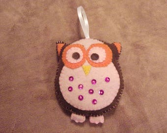 Little felt Owl, pink and brown Christmas ornament decoration