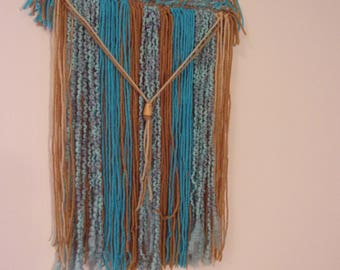 Yarn wall hanging, yarn wall art, boho wall art, bohemian wall art, fiber art, textile art, home decor, turquoise, brown, crochet, tapestry