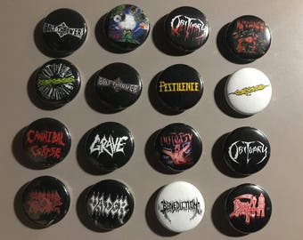 """Death Metal 1"""" Button Pin Set Old School Autopsy Cannibal Corpse Bolt Thrower Obituary Carcass"""