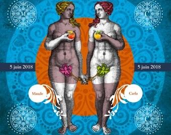 TWO WOMENS WEDDING, Digital art, Digital Art, icon, print, Illustration, frame for frame, wedding, gift, Souvenir