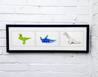 Dinosaurs & Dragons - Origami - Framed photographic print