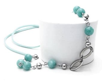 Long Necklace, Amazonite, Steel Beads, Steel Rings and Pins, Faux Suede Cord, Gemstone Pendant, Best Selling Items, Gift For Women
