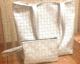Faux Leather Basket-weave Tote Set