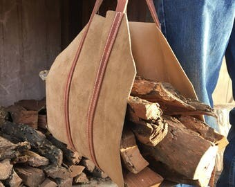 Handmade Leather Wood Tote/ Log Carrier