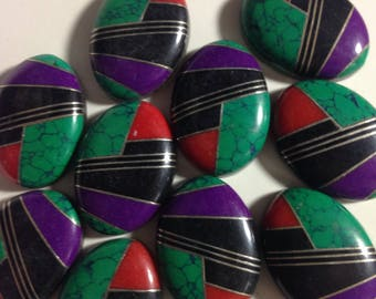 Malachite, Ontx and Coral Cabochons