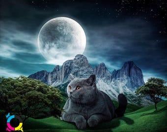Giants - British Short hair Cat illustration Full Moon Majestic Fantasy Scene Mountains Grassy Hills Night time - Printable Digital Art