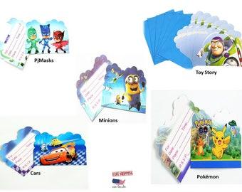 20pc Kid's Invitation Card,PjMasks,Toy Story,Cars,Minions & Pokemon Theme ,party invitation,Celebrate birthday,camping,beach,pool party