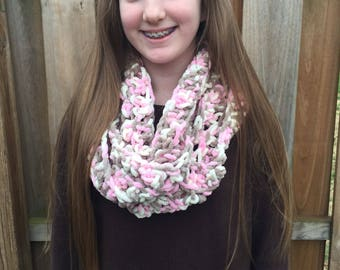 Kids size pink, white, and brown infinity scarf