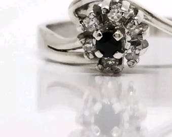 White gold Diamond and Sapphire cluster ring