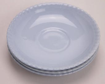 3 Johnson of Australia pastel blue piecrust saucers 1950s 1960s retro vintage