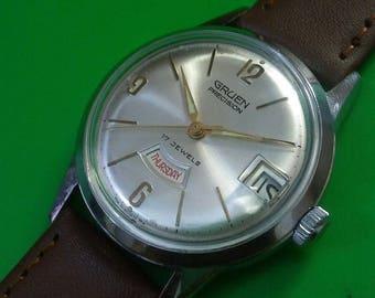 Fully Serviced Runs EXCELLENT Vintage 1960's Gruen Precision Men's Watch