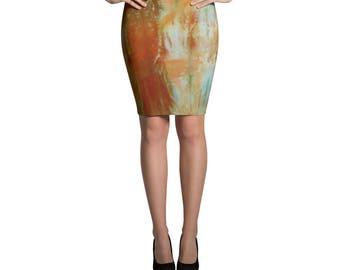 Adire Pattern Pencil Skirt