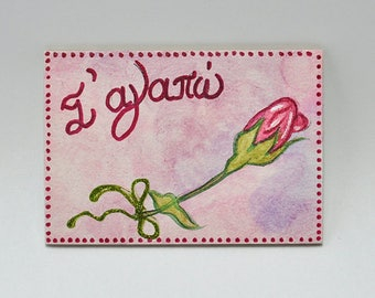 Magnetic for fridge-signs-hand painting-handmade-acrylic colors-hagiography powder-spray-mdf-wood-flowers-roses-i love you
