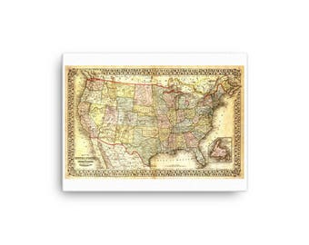 1867 Map of the United States - Canvas Print
