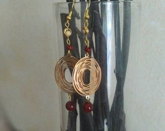 Gold and burgundy Earrings