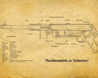 German MP40 MP38 Submachine, Gun Patent Art,  Print  - WW2,  WWII, army, german militaria, unframed, 1940s, blueprint, Germany, poster