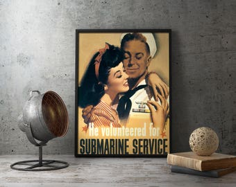 WW2 Propaganda Poster - US Submarine Service Recruitment prints, second world war 2 ii, militaria, navy, wwii, volunteered, retirement, gift