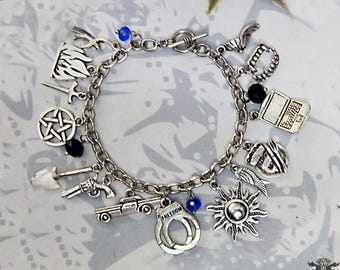 Supernatural TV Series inspired Beaded Charm Bracelet Sam Dean Winchester