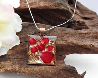 Natural Dried Scarlet Red Rose Petal resin cast Antique Copper Pendant with Sterling Silver Snake Chain Necklace