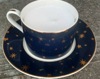 Starry Night Tea Cup Candle