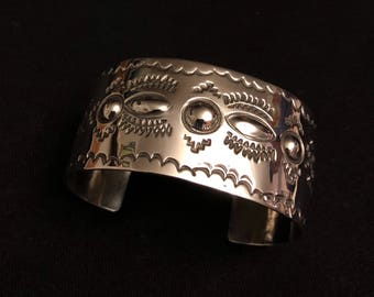 Native American made Sterling Silver repousse bracelet cuff