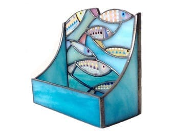 Fishes Stained Busines Card Holder