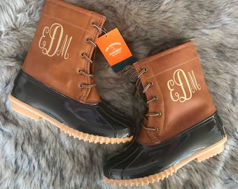 Monogram Personalized Duck Boots
