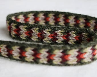 Handmade Green-Grey-Red Tablet Woven Viking Trim/Band (100% Pure Wool) 1-4 m Length, Without Tassels